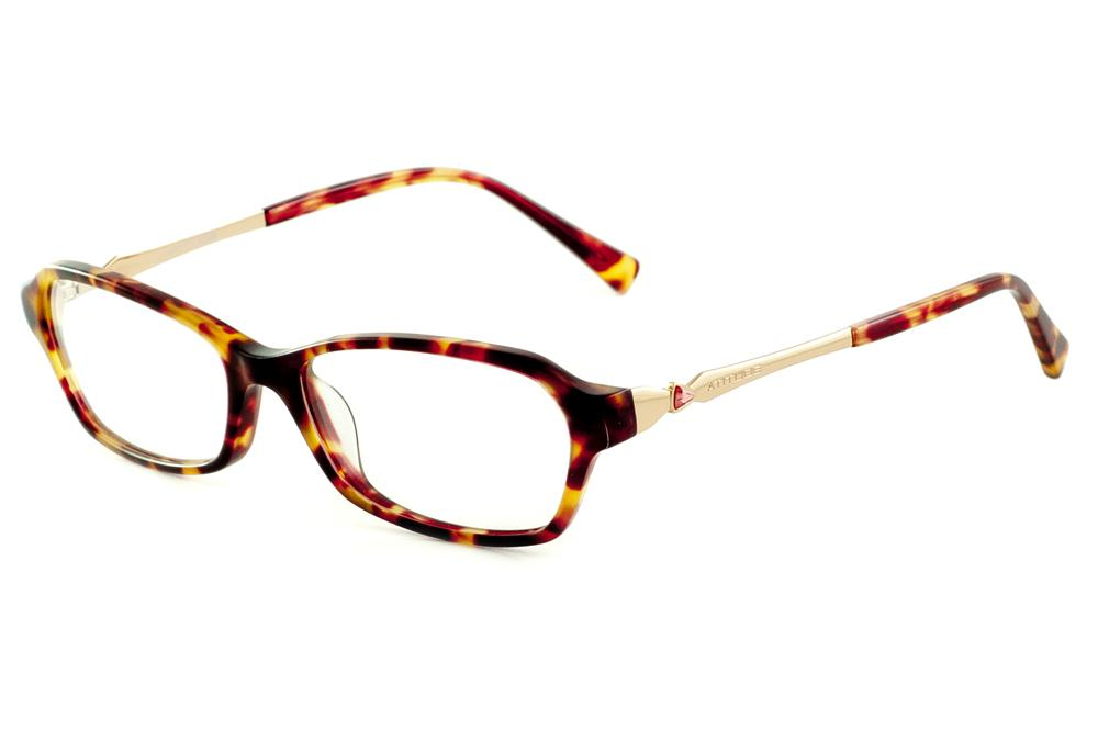 bb9254550404a Óculos Atitude At6121 cor efeito onça tartaruga strass vermelho