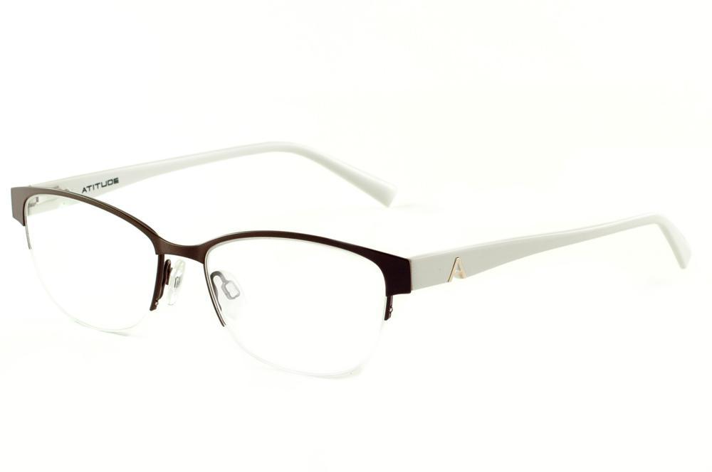 Óculos Atitude AT1547 estilo gatinho marrom haste branca 63198e8090