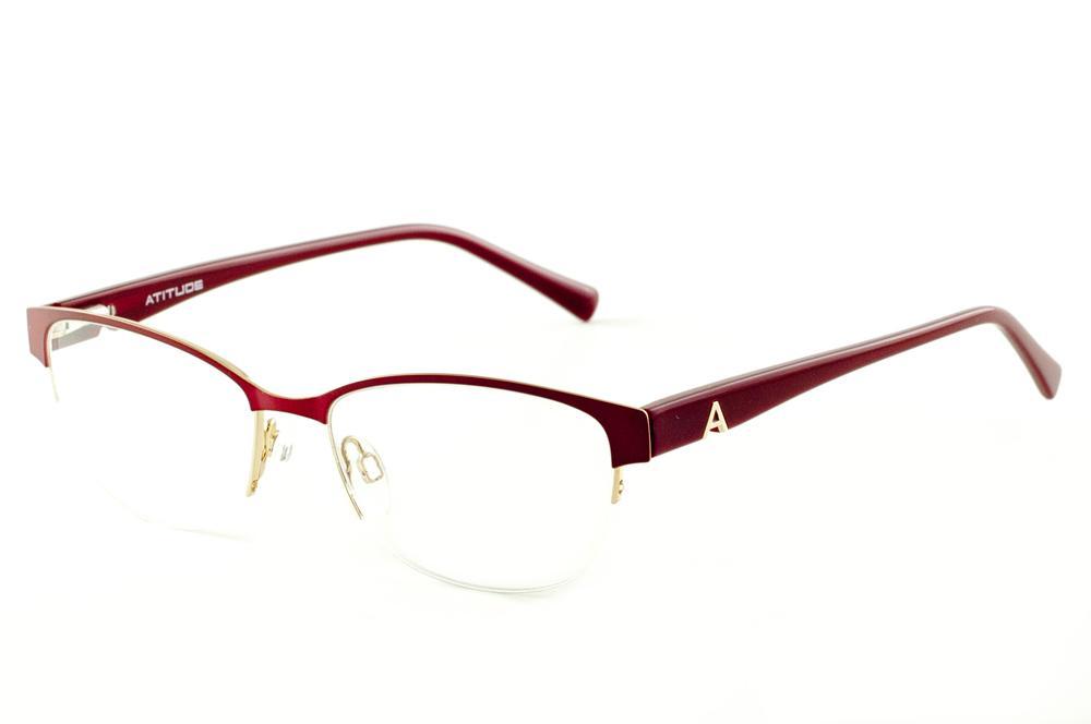 f5548751ebabc Óculos Atitude AT1547 estilo gatinho vermelho e dourado