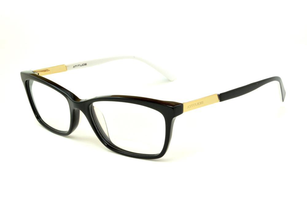 849855af6 Óculos Atitude AT6116 preto haste preta/branca e detalhe dourado