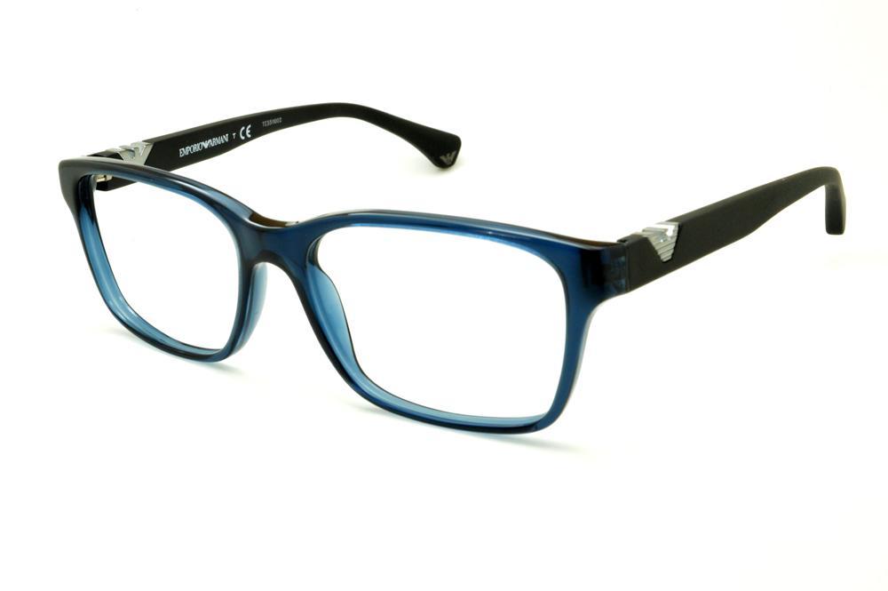 6b89e2fbb Óculos Empório Armani EA3042 azul e preto haste efeito borracha