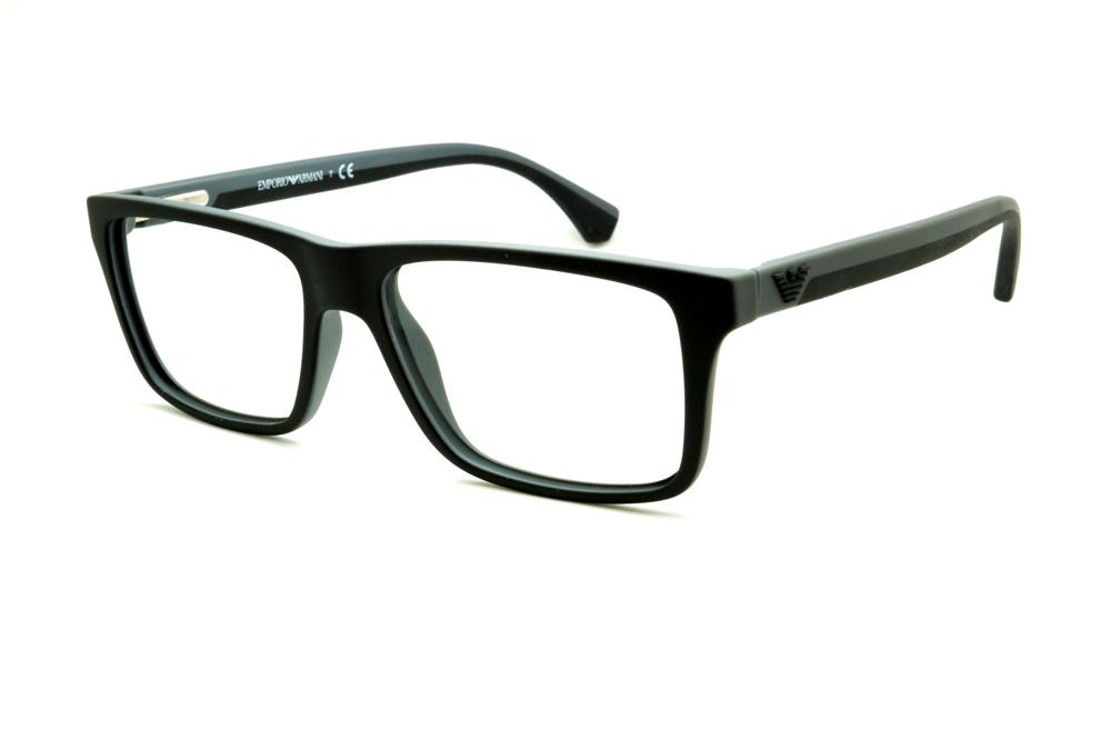 391cc465dd4a2 Óculos Emporio Armani EA3034 preto e cinza haste efeito borracha
