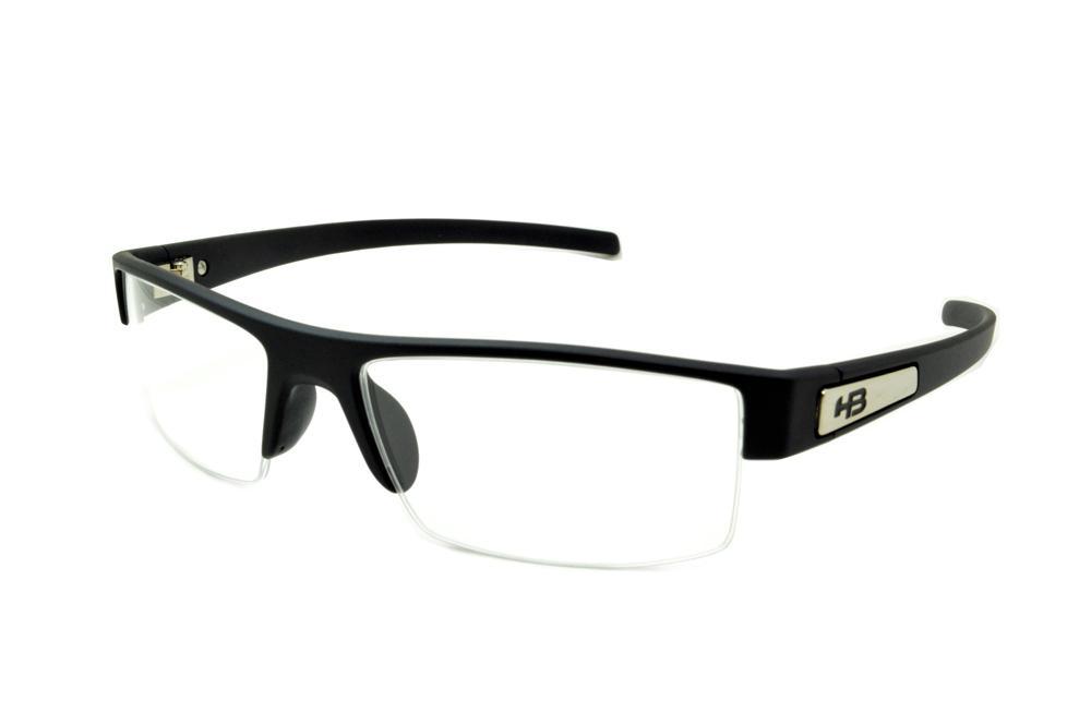 ac43b6e57c792 Óculos HB Matte Black preto fosco detalhe em aço escovado