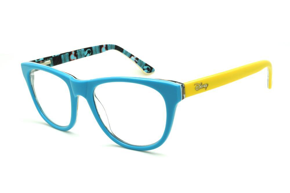 28e66684f Óculos Disney azul claro e haste amarela desenhos