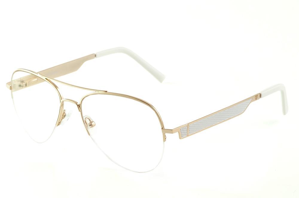 0a77dbc5cc80b Óculos Ilusion modelo aviador metal dourado com haste branca flexível de  mola