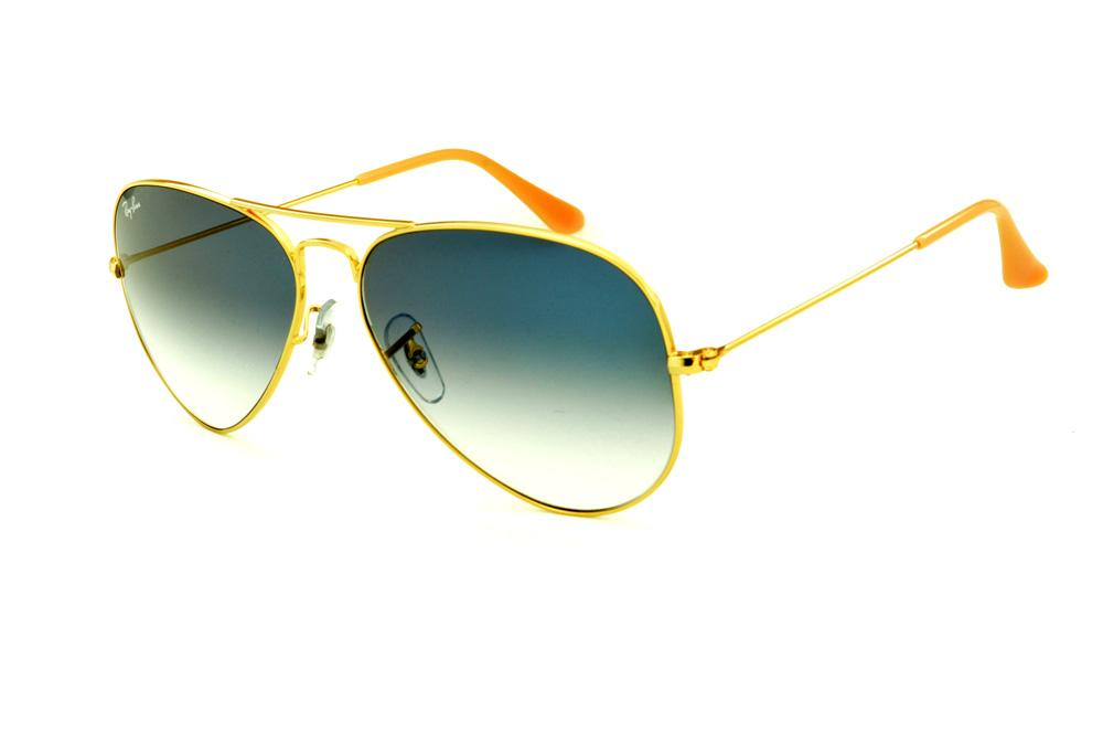 Óculos Ray-Ban Aviador RB3025 dourado lente azul degradê 849e447c98