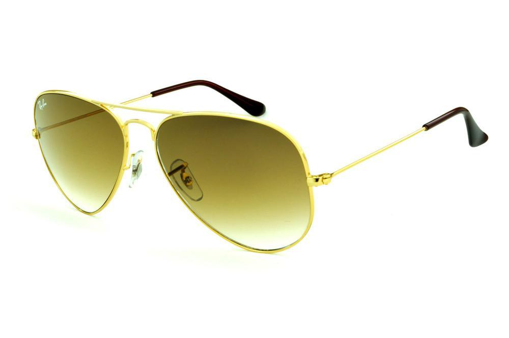 Óculos Ray-Ban Aviador RB3025 dourado lente marrom degradê 82435fcee5