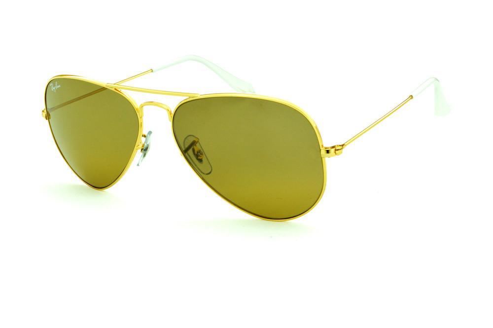 Óculos Ray-Ban Aviador RB3025 dourado lente marrom e ponteira branca  tamanho 58 758cf33901