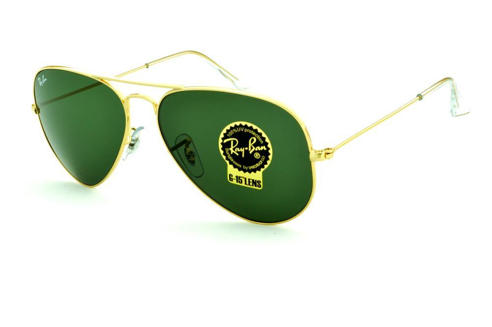 Óculos Ray-Ban Aviador RB3025 dourado lente verde G15 da4b375f90
