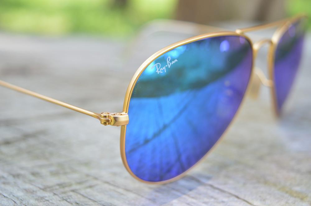 ray ban lente azul dourado