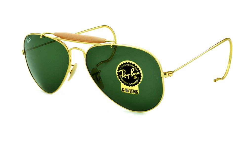 39b4da46e Óculos Ray-Ban Caçador RB3030 Outdoorsman dourado lente verde G15 tamanho 58