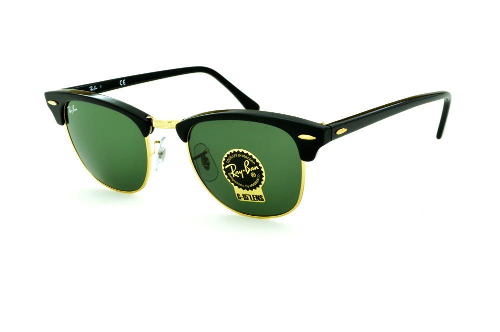 f64eb8b872daa Óculos Ray-Ban Clubmaster RB3016 preto e dourado e lente G15