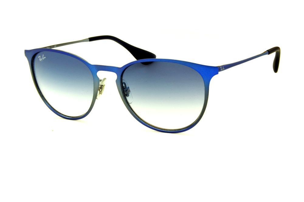 2d4b4544a5d13 Óculos Ray-Ban Erika Metal RB3539 azul e cinza lente degradê