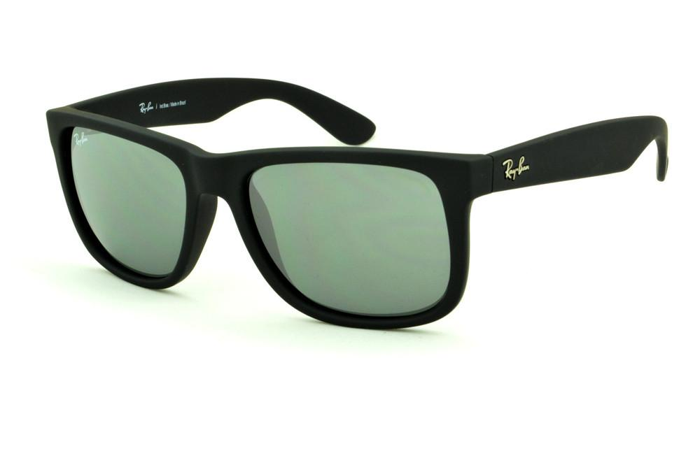 Óculos Ray-Ban Justin RB4165 Preto fosco com lente semi espelhada prata 2af237b612