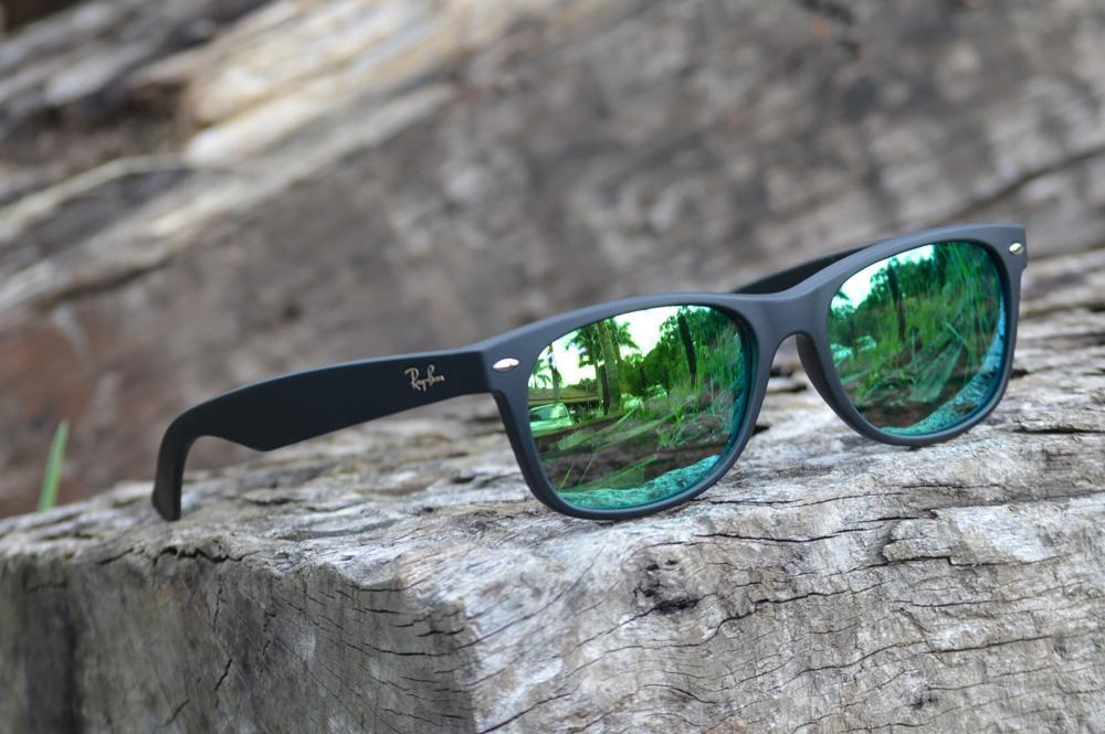 dd8c3f296 Óculos Ray-Ban New Wayfarer RB2132 preto fosco lente verde