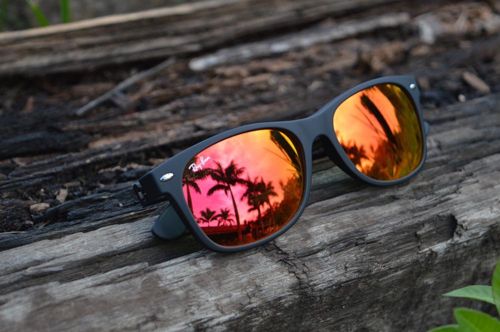 Óculos Ray-Ban New Wayfarer RB2132 preto fosco lente vermelha 6af156ecdc