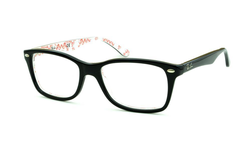 125aeffc4801e Óculos Ray-Ban RB5228 tamanho 55 Preto haste estampada branca