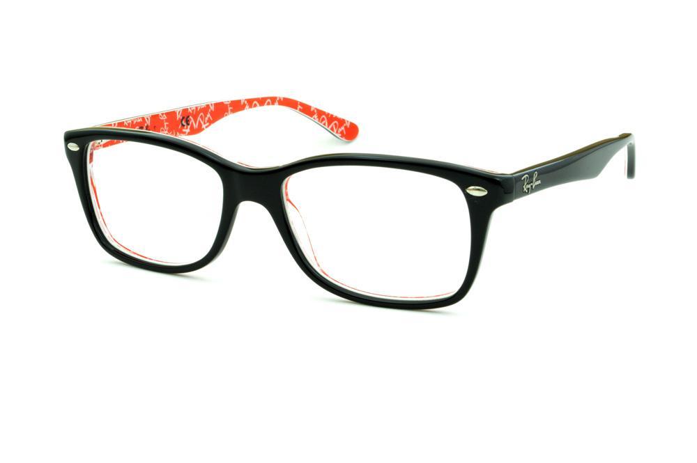 Óculos Ray-Ban RB5228 tamanho 55 Preto com haste estampada vermelho e escrita  branca 2cfe5d142f