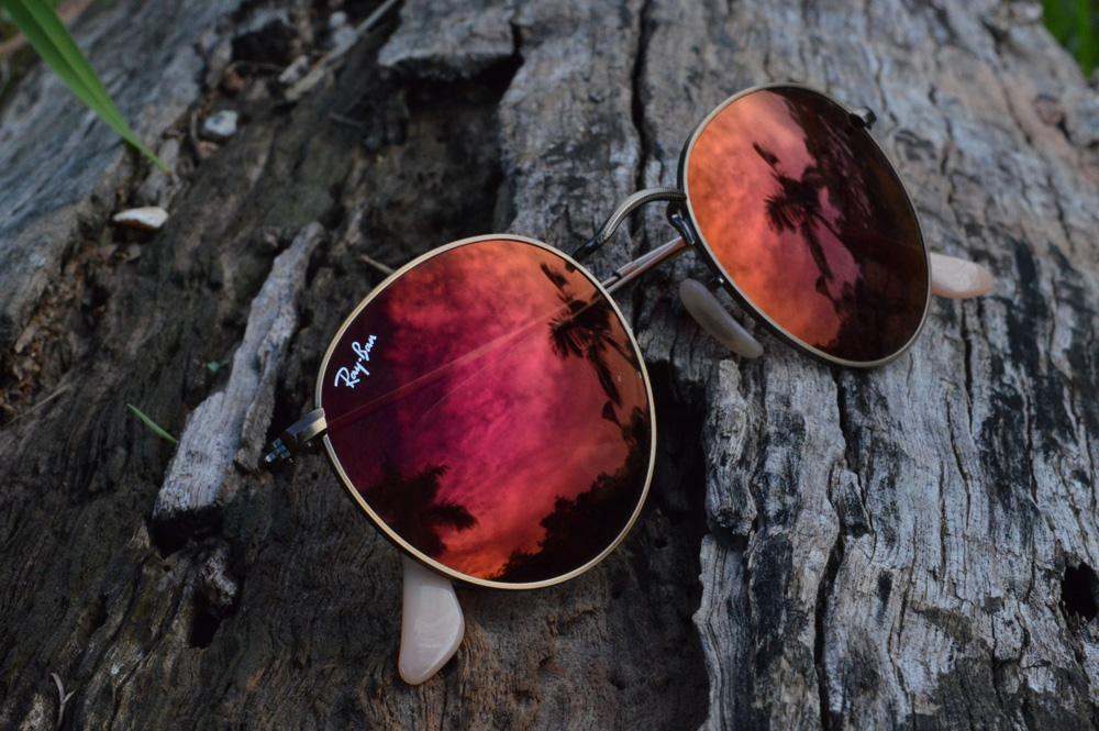1ea97cca2 Óculos Ray-Ban Round RB3447 metal bronze/bege redondo com lente espelhada  vermelha