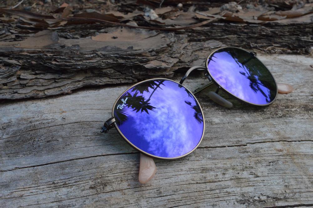 9670f099b Óculos Ray-Ban Round RB3447 metal bronze/bege redondo com lente espelhada  violeta