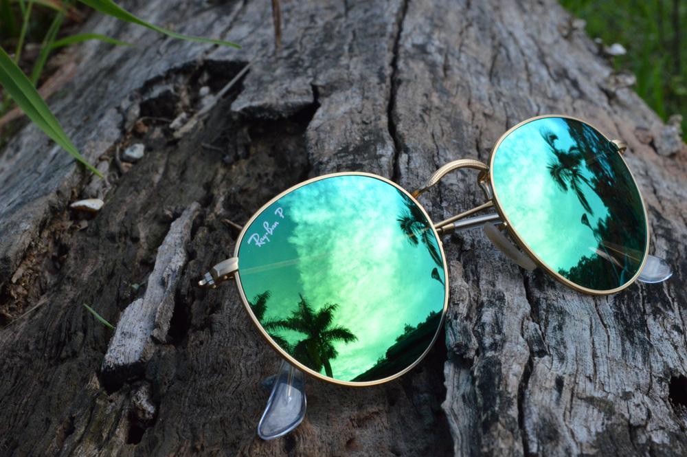 3602ae4f703af Óculos Ray-Ban Round RB3447 POLARIZADO dourado lente espelhada verde