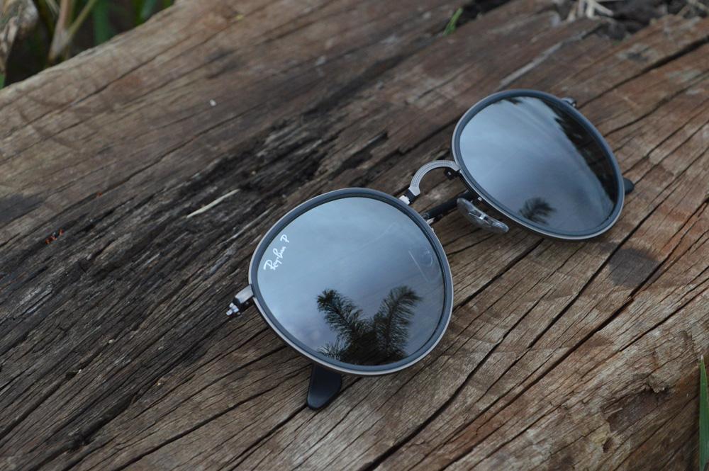00c2a7c172c37 Óculos Ray-Ban Round RB3517 chumbo friso cinza e lente polarizada