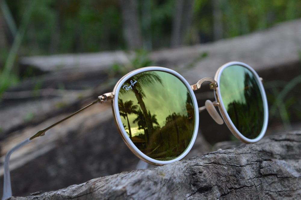 f6fccde7a Óculos Ray-Ban Round RB3517 metal dourado friso branco redondo com lente espelhada  amarela