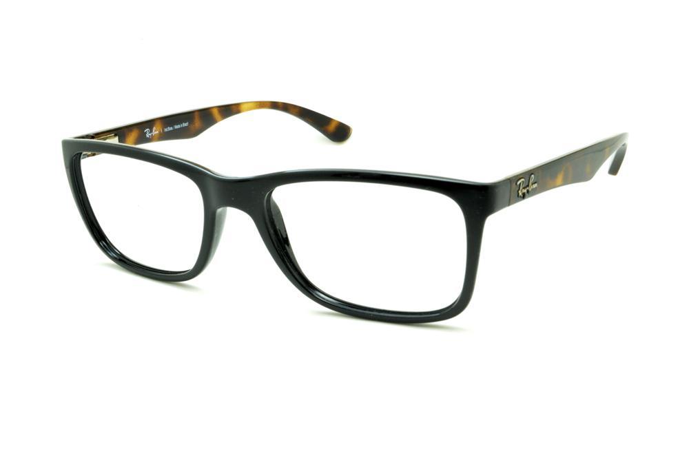 Óculos Ray-Ban RB7027 preto com haste tartaruga demi efeito onça de mola  flexível de0d36d17a