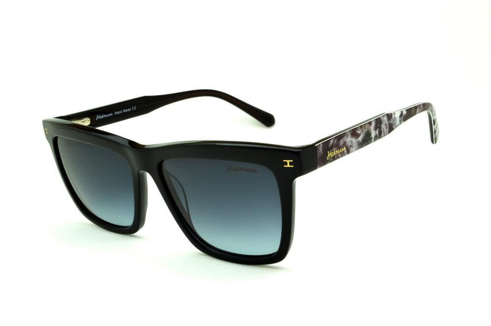 87e116b60cc26 Óculos de Sol Ana Hickmann HI9010 Floral em acetato preto e haste estampada