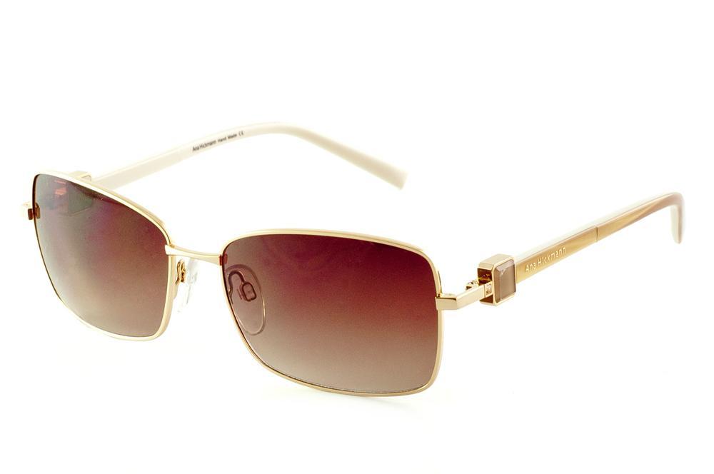 e2b1bc7192084 Óculos de Sol Ana Hickmann AH3121 dourado lente marrom com haste 2 faces  caramelo branco