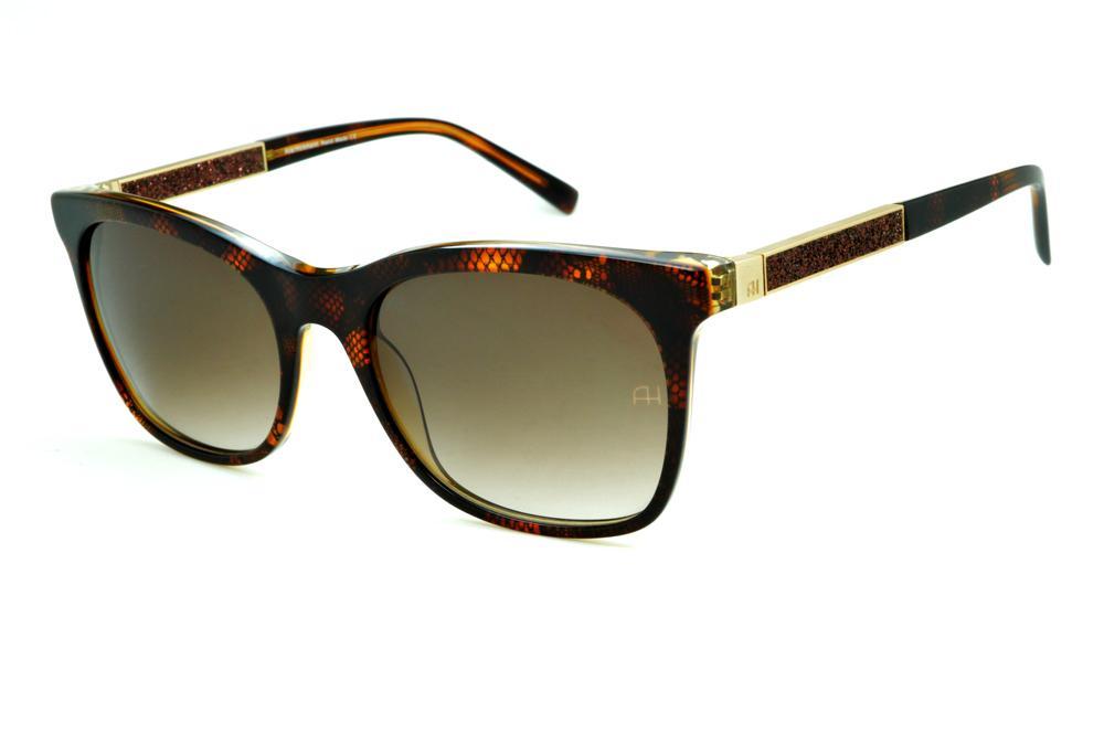 769f85eb3fa91 Óculos de Sol Ana Hickmann HI9198 em acetato marrom café e haste giratória  marrom dourada