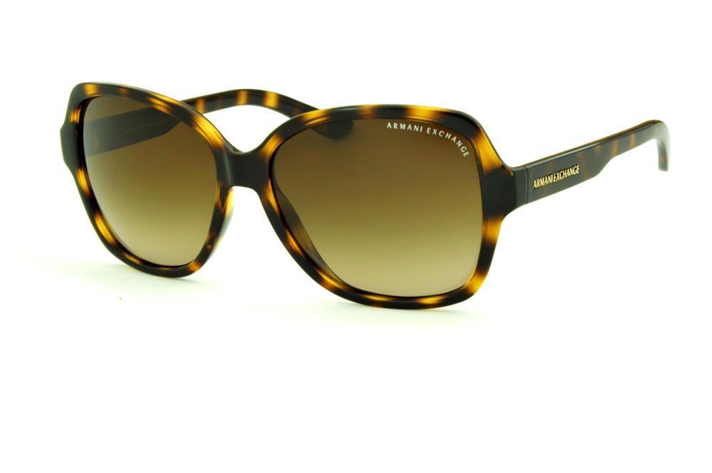 bb0ab8c1696 Óculos de Sol Armani Exchange AX4029S tartaruga efeito onça com lente  marrom degradê e logo dourado