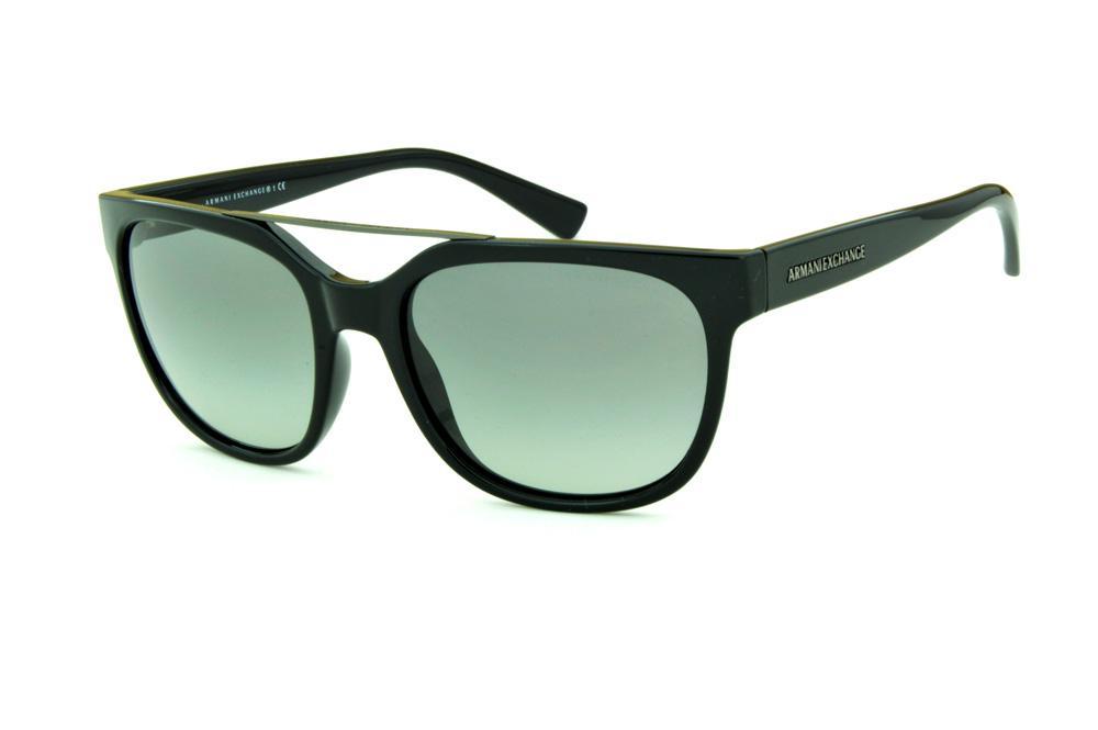 dcb4ad26b Óculos de Sol Armani Exchange AX4043S preto modelo gatsby e logo cinza