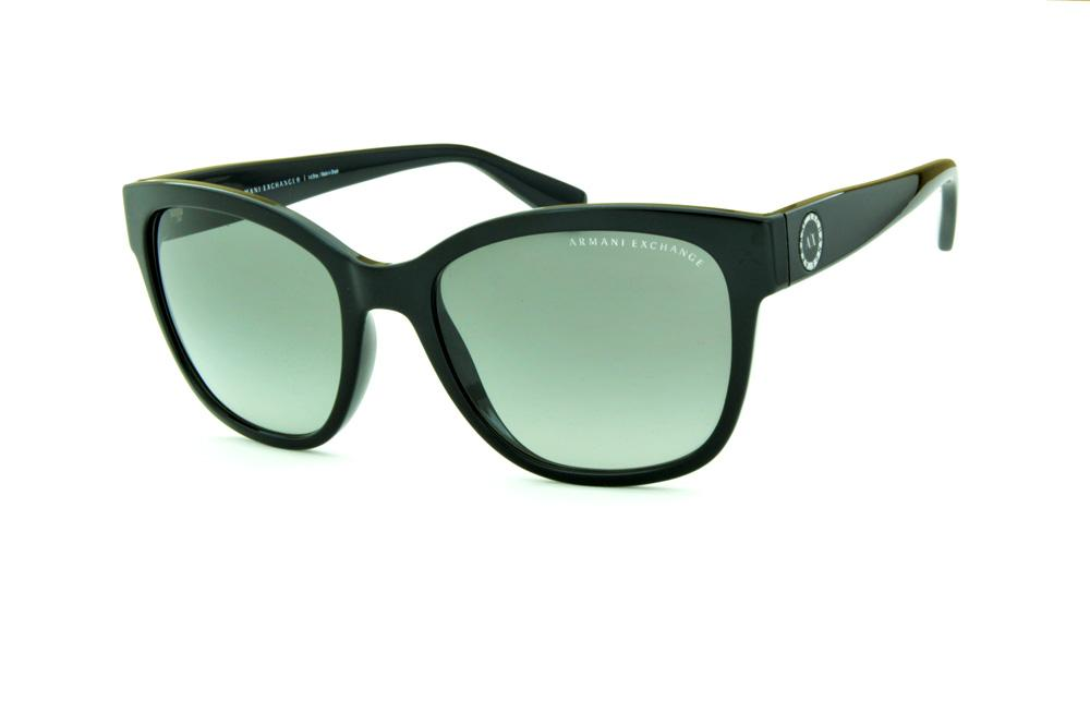 bdd2b4461eb Óculos de Sol Armani Exchange AX4046SL preto com detalhe nas hastes redondo  e lente cinza degradê