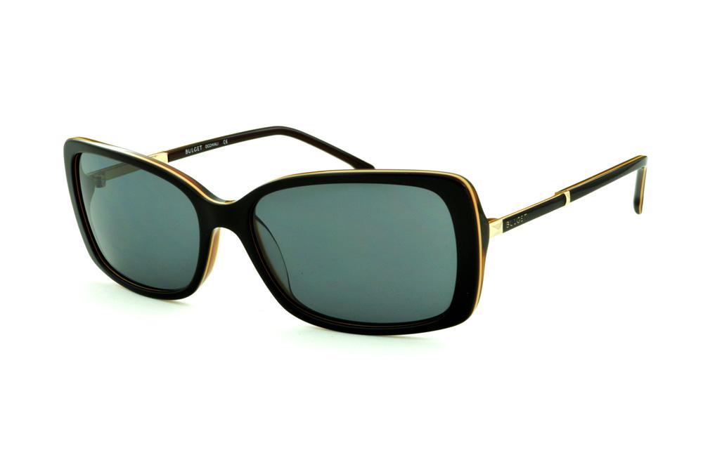 8c2a91277 Óculos de Sol Bulget cor marrom escuro friso bege detalhe dourado