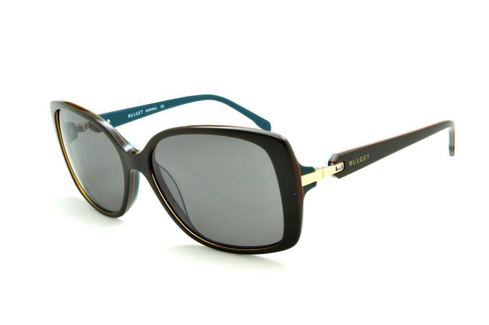 Óculos de Sol Bulget marrom e azul petróleo e detalhe dourado e strass  cristal c97b0e2eea