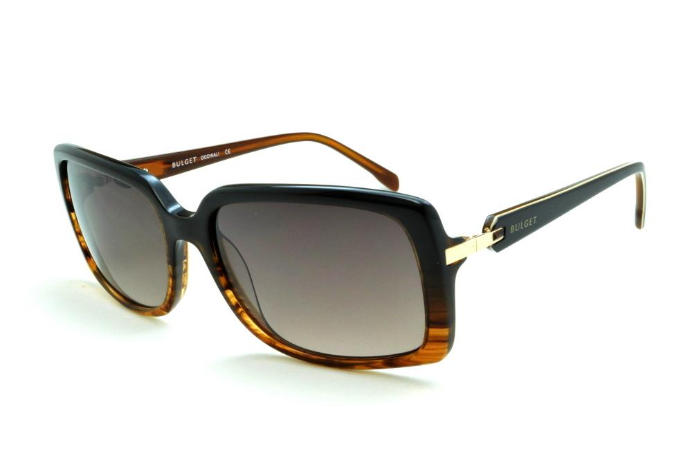 Óculos de Sol Bulget marrom mesclado e preto e detalhe dourado e strass  cristal 69e383eb5b