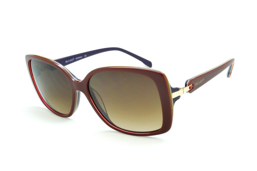 Óculos de Sol Bulget vermelho queimado e azul marinho com detalhe dourado e  strass cristal 2ea0a282ed