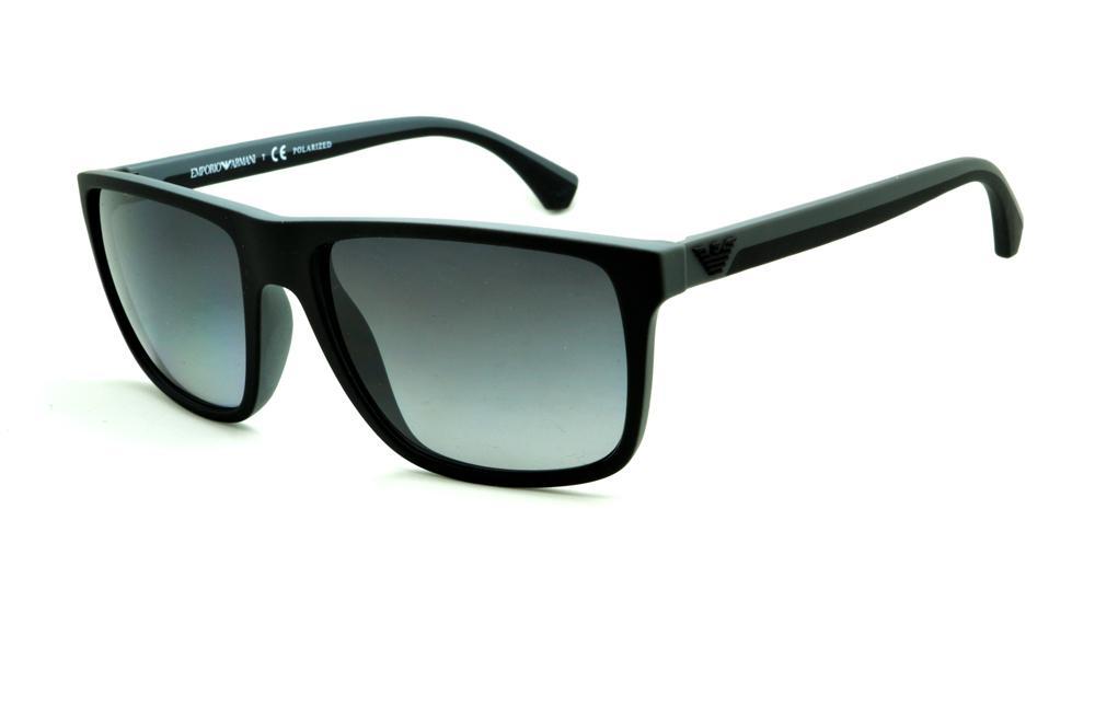 f1051fabe4b7b Óculos Emporio Armani EA4033 de Sol POLARIZADO preto e cinza com haste  efeito borracha