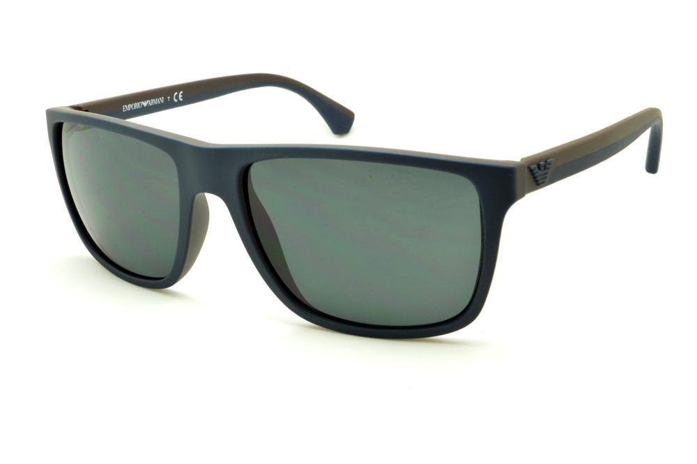 1330b0b688525 Óculos Emporio Armani EA4033 de Sol azul e marrom com haste efeito borracha