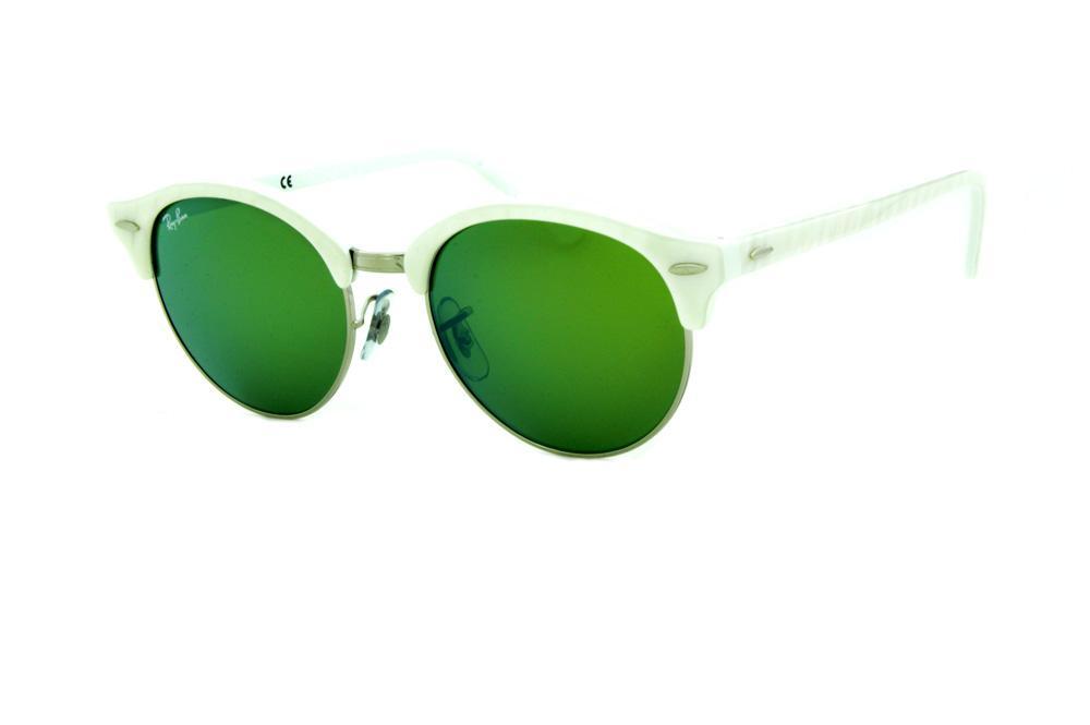 Óculos de Sol Ray-Ban RB4246 Clubround branco perolizado com metal prata e  lentes espelhadas verde 15573780d1