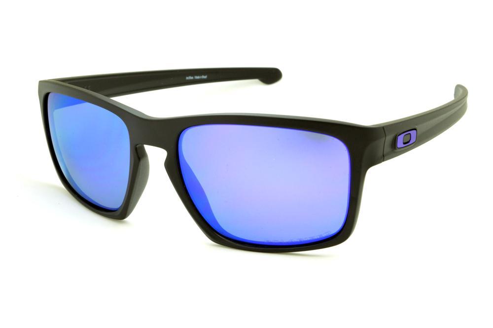 e0064aad218bf Óculos de sol Oakley OO9262L Sliver preto lente roxa azul POLARIZADA